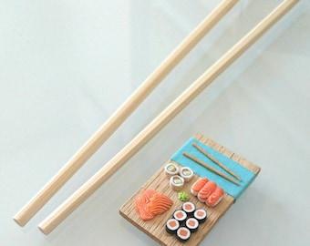 Mini Sushi plate ! Makis, california rolls, sashimi - Magnet -  Polymer clay miniature food