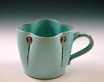 Large mug in turquoise glaze.