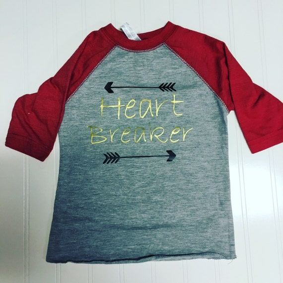 Boys Valentine shirt heart breaker raglan, gold black red arrow graphic t, heart breaker t shirt, Valentine's Day boys shirt, boys clothes