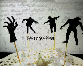 Zombie Cupcake Toppers Zombie Party Decorations Black Glitter