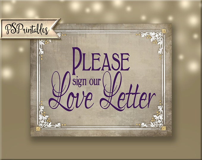 Sign our Love Letter Guestbook Alternative Printable Wedding Sign- wedding guestbook alternative, plum white wedding Old Lace Collection