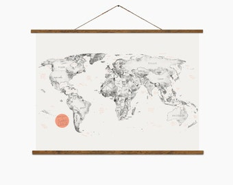 Large World Map, Hand Drawn And Printed World Map