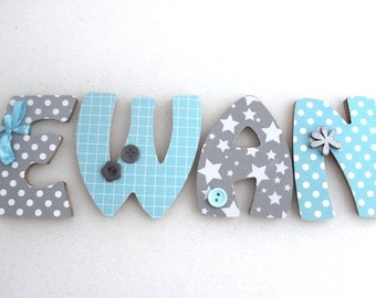 Wooden letters for bedroom and Baby - Blue Stars Theme