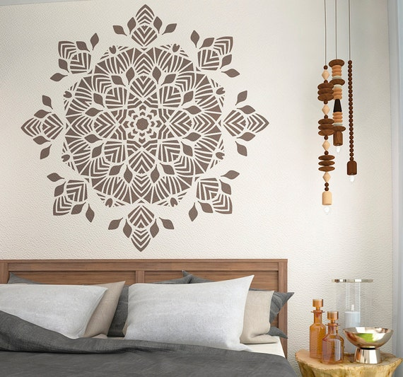 decorative mandala stencil unique wall decor by stencilslabny