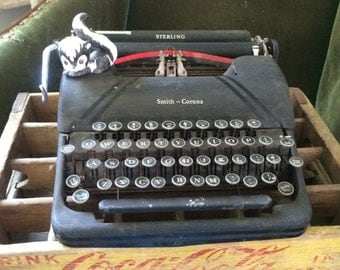 Smith Corona Sterling Typewriter, Portable Typewriter, Currently Decor Only