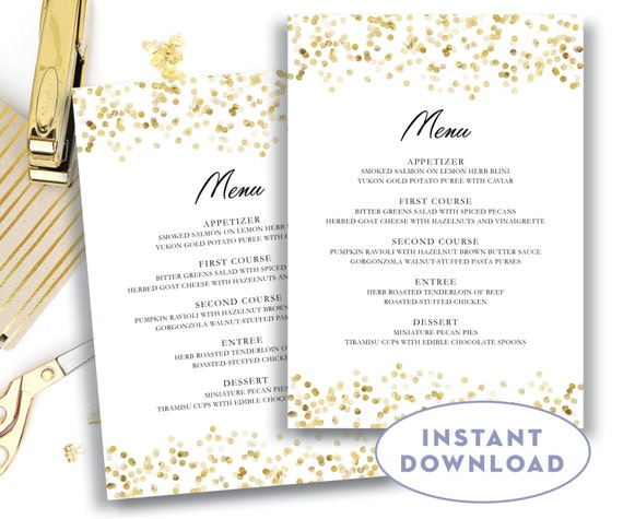 gold wedding menu template 5x7 editable text microsoft word. Black Bedroom Furniture Sets. Home Design Ideas