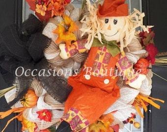 Burlap Fall Wreath, Door Hanger, Fall Decoration, Burlap Wreaths, Front door wreath, Ready to Ship