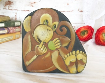 Antique French Monkey Tin Litho Box, Vintage Advertising Pierrot Gourmand Candy Box. France England, trinket storage, Nursery décor