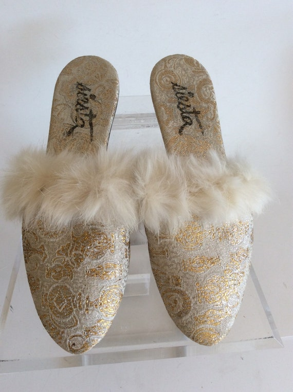 Boudoir Slippers Vintage 60s Metallic Gold And Ivory Paisley