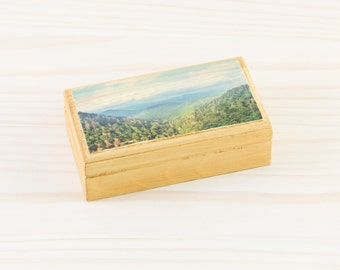 Smoky Mountains, Engagement Gifts for Couple, Nature Inspired Jewelry Box Wood, Gift Box, Unqie Wedding Gift for Couple,Blue Ridge Mountains