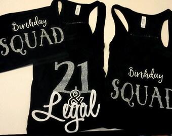 21st Birthday and Birthday Squad Glitter tank tops