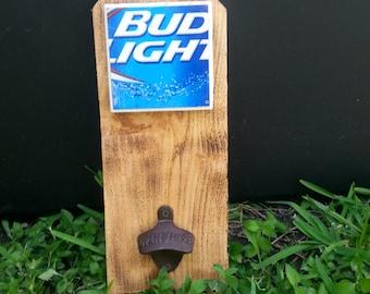 Bud Light Wood Cast Iron bottle opener
