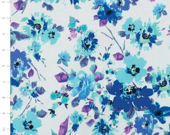 Blue and Purple Flowers on White Light Weight Knit