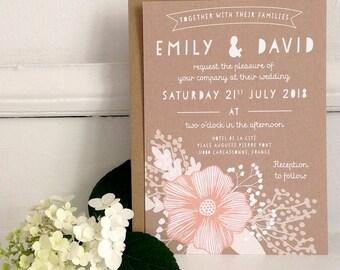 Blush Floral Wedding Invitation Suite, Rustic Wedding Invitation, Simple Floral Invitation, RSVP, Modern Wedding Stationery {DEPOSIT}