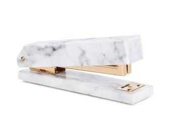 Rachel George Acrylic Marble & Gold Stapler