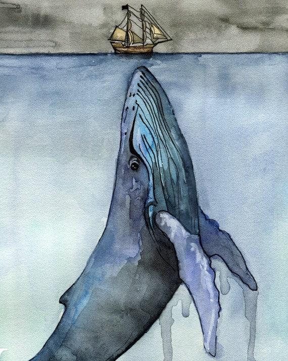 Vintage Sailboat Sketch Watercolor Whale Paint...