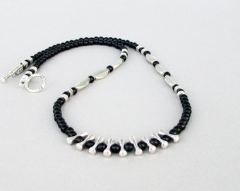Mens Black Turquoise Necklace, Silver Necklace, Mens Beaded Jewelry, Mens Beaded Necklace, Natural Stone Necklace