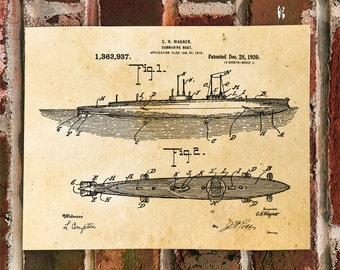 KillerBeeMoto: Duplicate of Original U.S. Patent For U-Boat Submarine 1920's