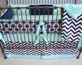 Navy & Mint Baby Bedding: Gabriel