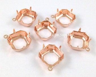 24K Rose Gold Plated Square Settings 10pcs OPEN BACK 1 Loop Octagon Cushion Cut - Fits Swarovski 4470