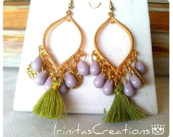 Chandelier earrings/boho/bohemian/hippie/beaded earrings/Κρεμαστά σκουλαρίκια με χαντρες