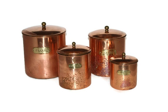 Copper And Brass Kitchen Canister Set Flour Sugar Coffee Tea