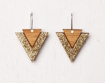 Cleopatra - Geometric Tribal Wood Earrings - gold glitter - laser cut - art deco triangle