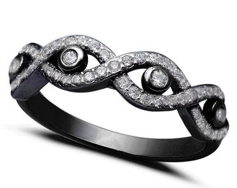 Crisscross Evil Eye Ring Black Gold Solid 925 Sterling Silver Round Clear White CZ Evil Eye Jewelry Evil Eye Ring Evil Eye Lover Gift