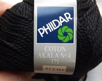 Phildar Coton Akala Perle Cotton, Black Yarn, 27 Balls Available, Vintage, Worsted Weight, 50 grams 96 Yards Each, Soft Cotton Yarn