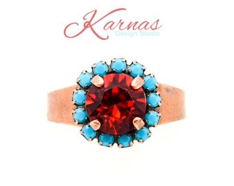 URBAN COWGIRL 8mm Crystal Red & Turquoise Adjustable Ring Made With Swarovski Elements *Antique Copper *Karnas Design Studio *Free Shipping