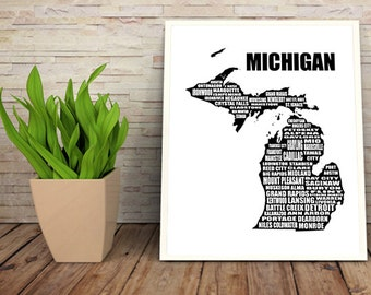 Map of Michigan, Typographic Map, Michigan state map, Instant Download, Detroit,  Word Art, Wall Art, Black, White, Typography, 8 x 10""
