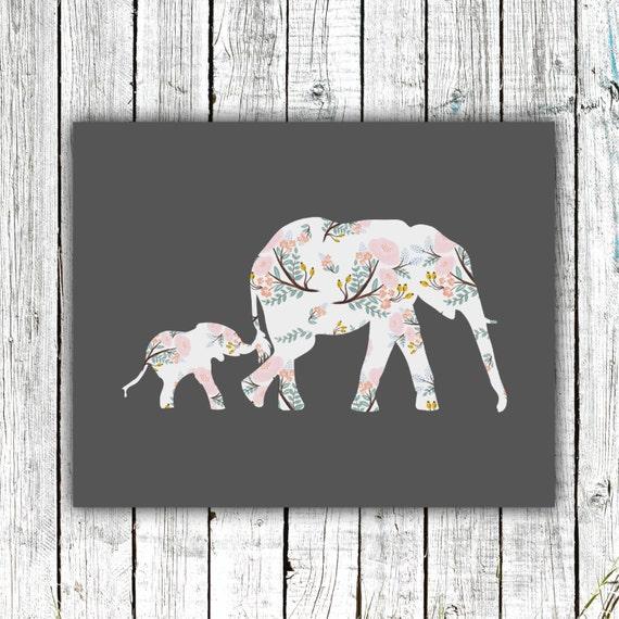 Nursery Art Printable, Elephants, Baby Girl, Floral, Animals, Safari, Digital Download Size 8x10 #530