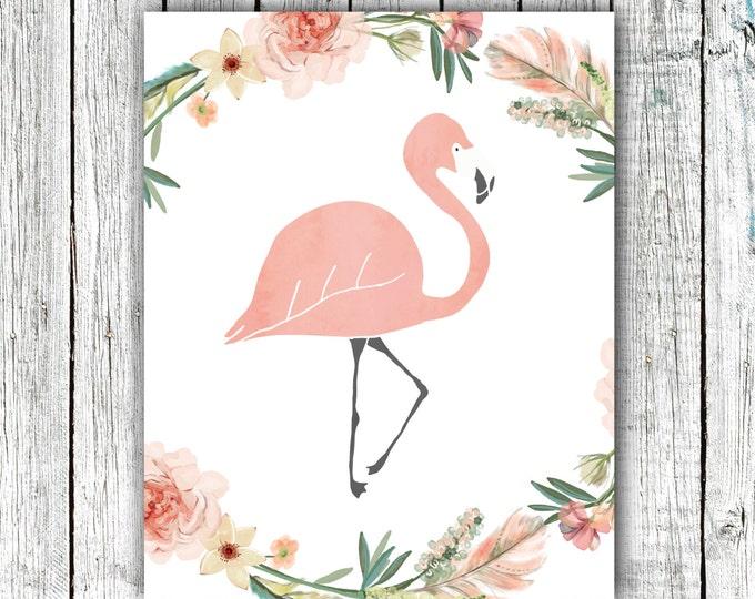 Nursery/Kid's Printable Art, Baby girl, Flamingo, Hand Drawn, Floral, digital download size 8x10 #hh18