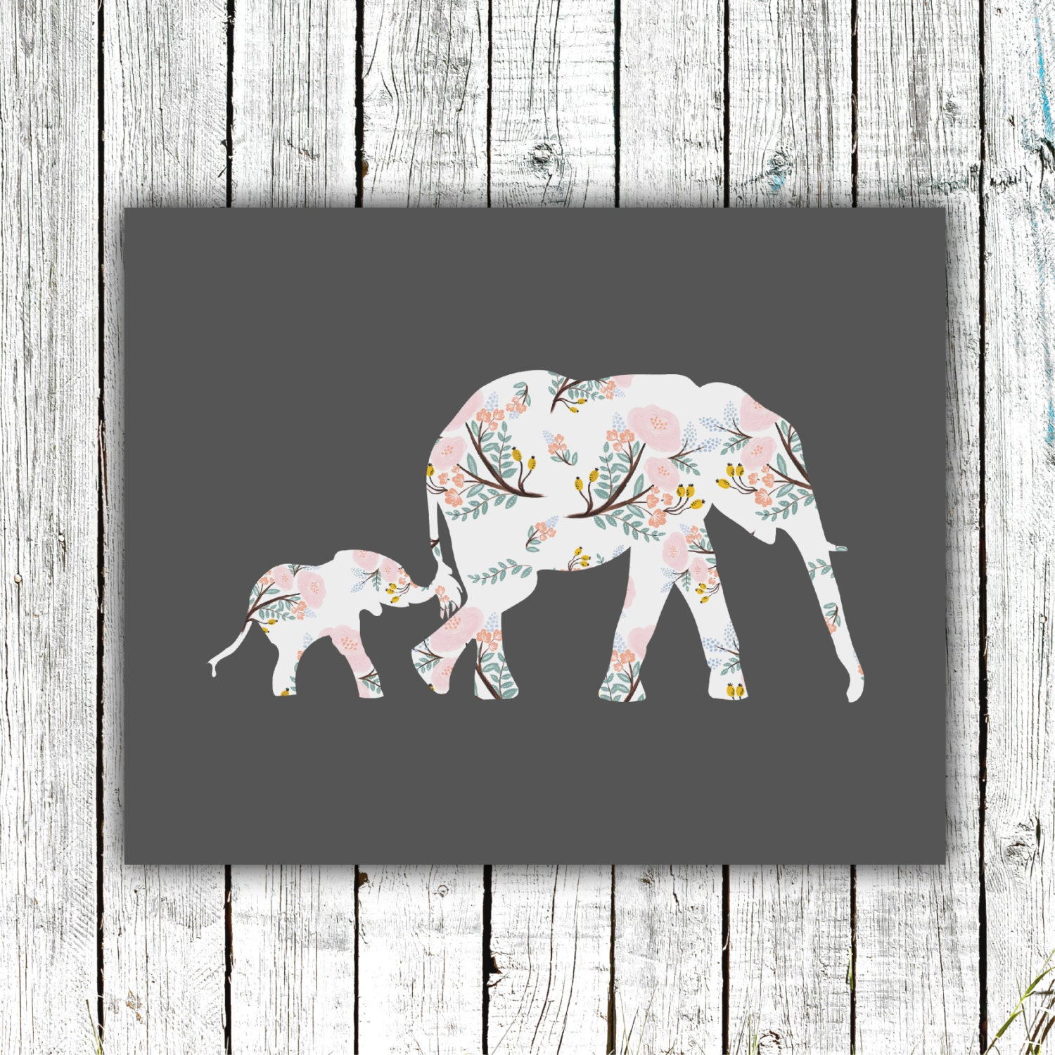 nursery art printable elephants baby floral animals