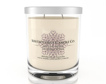 Lily Jasmine Musk Scented Soy Wax Candle Jar + Silver Lid