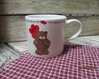 Vintage Oversized Coffee Mug Cup You mean everything to me Teddy Bear