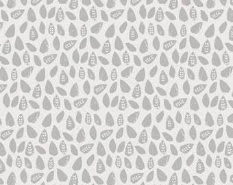 Gray Woodland Leaf  Fabric - By The Yard - Gender Neutral / Boy / Girl