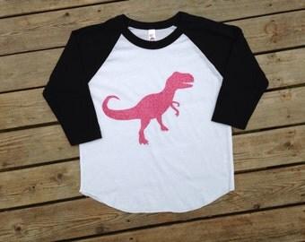 T-rex shirt, baseball T rex shirt, T-rex girl shirt, girl dinosaur shirt, T rex, Dinosaur clothes, girl dinosaur shirt, triceratops