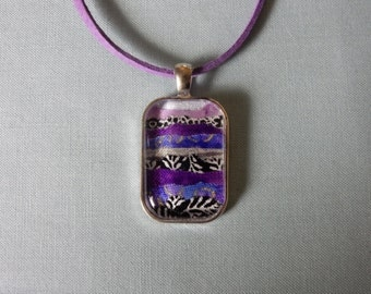 Fabric Under Glass Pendant Necklace