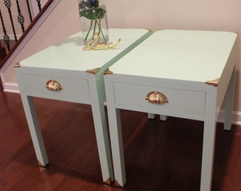 Minty Fresh! Beautiful Re-Designed End Tables With Antique Brass Hardware.