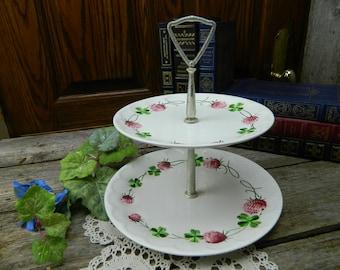 Vintage Fenton Clover 2 Tiered Dessert Stand Plate