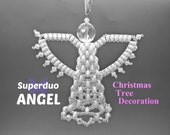 Superduo Angel Christmas Tree Decoration. Instructions to make a hanging angel ornament.