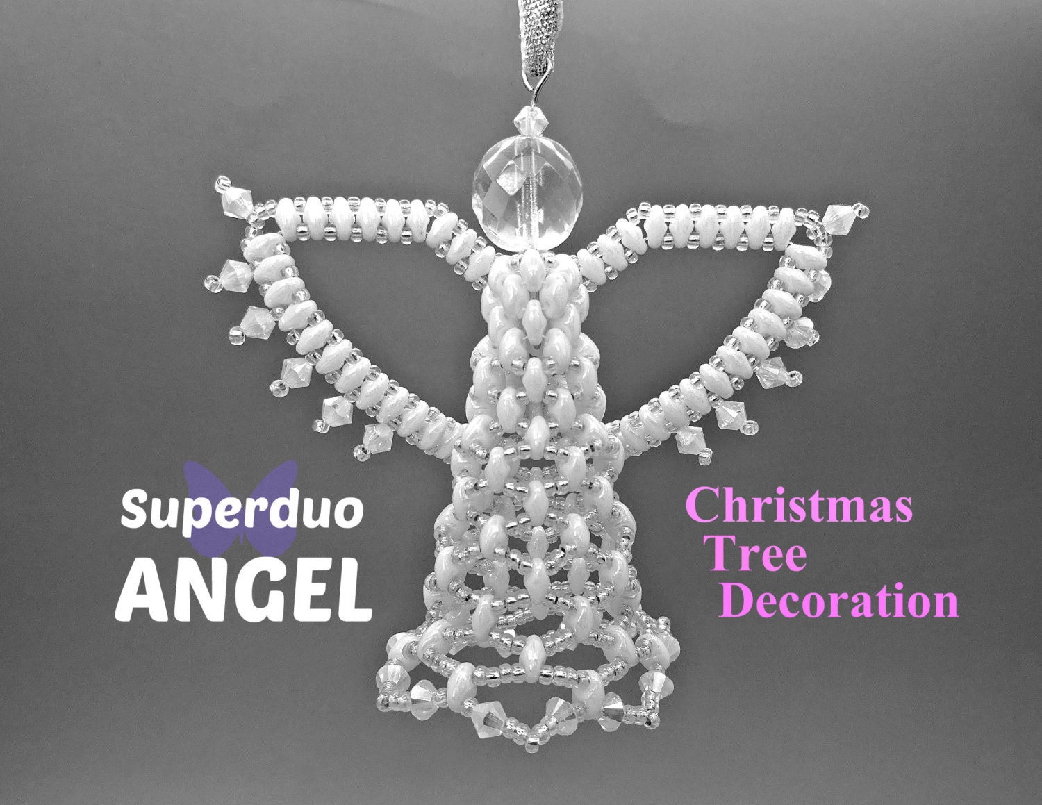 Superduo angel christmas tree decoration instructions to make for Angel christmas tree decoration