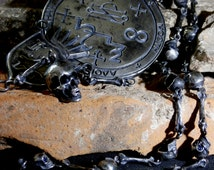 Unique Antique Georgian Silver and Sapphire Amulet Seal and Skull to The Archangel Azrael 'Whom God Helps' – The Angel of Death – Dated 1774