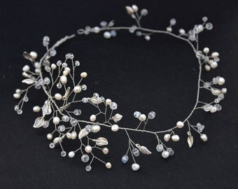 Freshwater Pearls and Crystals Wedding Headband Bridal Boho Headpiece Hairpiece Bridal Hair Vine Bridal Tiara Diadem Bridal Wedding hairvine