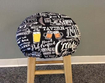 Mancave, Beer or tavern themed print elasticized round barstool cover, kitchen counterstool seat cover, various prints available, washable