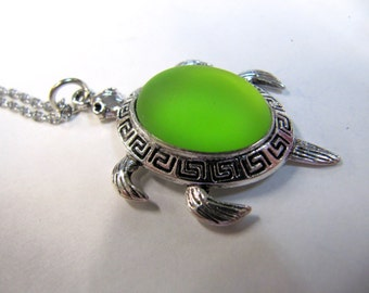 Luna Soft Turtle Pendant, Lime Green, Iridescent Shiny Cabochon, Stainless Steel Chain, 40mm X 25 mm,