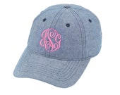 Monogrammed Chambray Hat / Monogrammed Baseball Hat / Monogrammed Cap / Chambray Baseball Hat / Chambray Hat / Womens Baseball hat