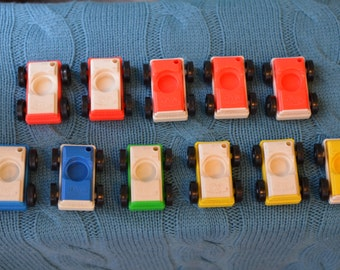 Vintage Fisher Price Little People Car 1970s Red Yellow Blue Green Choice