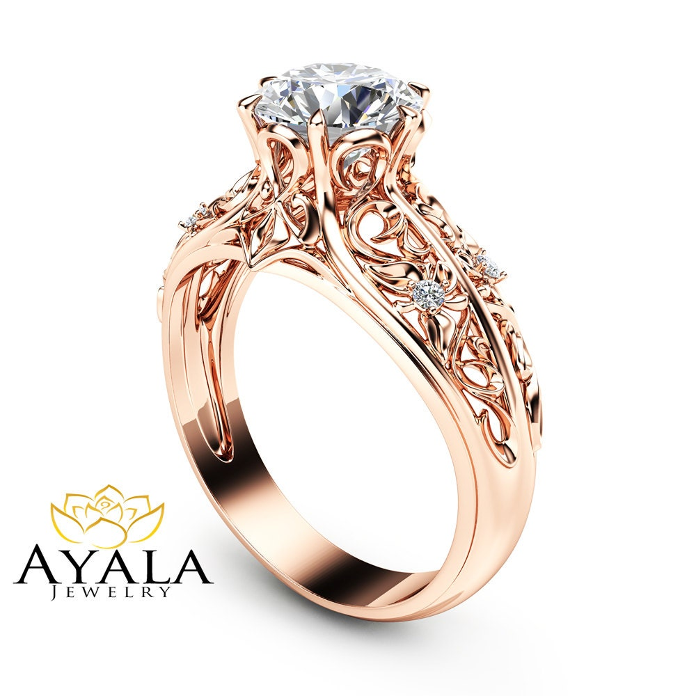 14K Rose Gold Engagement Ring Unique Engagement Ring Rose Gold
